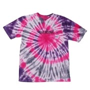 "Camiseta Overcome ""Logobox"" Tie Dye (Rosa/Roxa/Branca)"