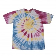 "Camiseta Overcome ""Smile for Haters"" Tie Dye Rosa/Amarela/Azul"