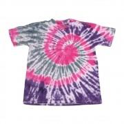 """Camiseta Overcome """"Smile for Haters"""" Tie Dye Rosa/Roxa/Branca"""