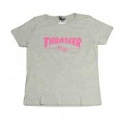 "Camiseta Thrasher Feminina ""Mag Logo"" Cinza"