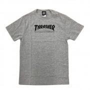 """Camiseta Thrasher """"Logo"""" Cinza/Preto"""