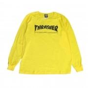 """Camiseta Thrasher Manga Longa """"Logo"""" Amarela"""