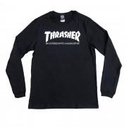 """Camiseta Thrasher Manga Longa """"Logo"""" Preta"""