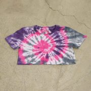"""Cropped Overcome  """"Smile For Haters"""" Tie Dye (Rosa/Roxo/Branco)"""