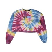 "Moletom Cropped Overcome Careca ""Grafitti"" Tie Dye (Azul/Amarela/Roxa)"