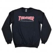 """Moletom Thrasher Careca """"Logo"""" Preto/Vermelho"""