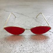 """Óculos Vintage """"Cat"""" Dourado/Vermelho (Pernas Douradas)"""