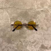 """Óculos Vintage """"JLennon 2.0"""" Dourado/Amarelo"""