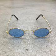 """Óculos Vintage """"JLennon"""" Dourado/Azul"""