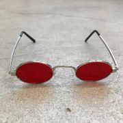 """Óculos Vintage """"JLennon"""" Prata/Vermelho"""
