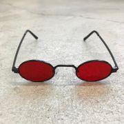 """Óculos Vintage """"JLennon"""" Preto/Vermelho"""
