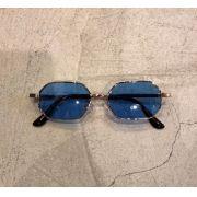 """Óculos Vintage """"Lord Have"""" Dourado/Azul"""