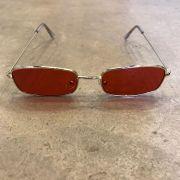 """Óculos Vintage """"Russian Killer"""" Dourado/Vermelho (Pernas Transparentes)"""