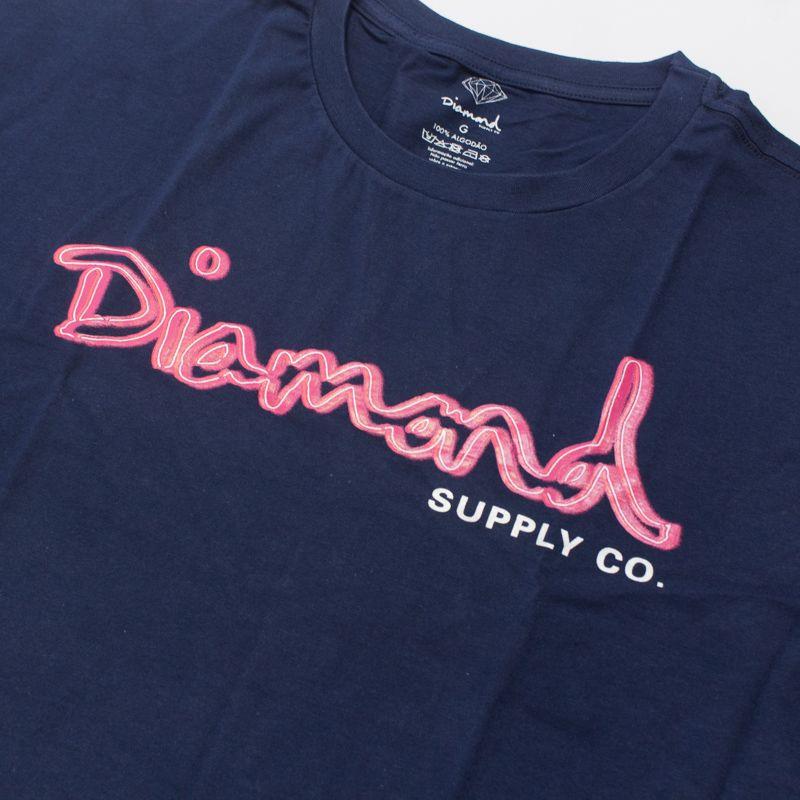 """Camiseta Diamond """"Neon OG Script"""" Azul"""