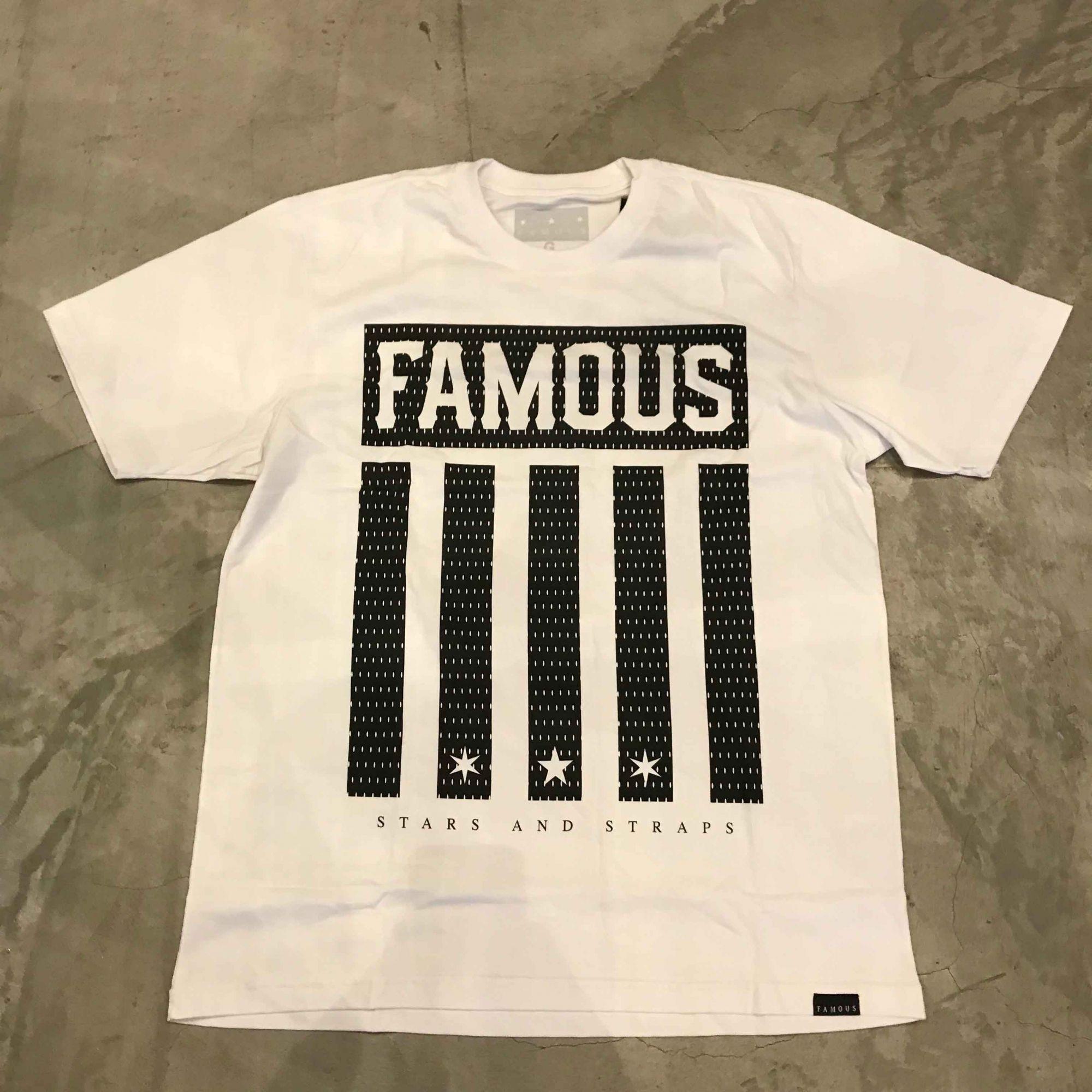 """Camiseta Famous """"Striper"""" Branca"""
