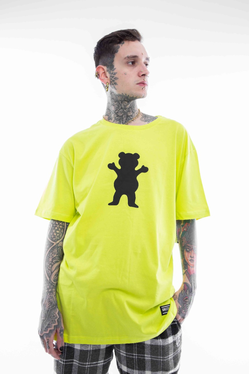 Camiseta Grizzly OG Bear Verde Neon/Preto