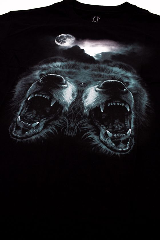 "CAMISETA GRIZZLY ""ROAR AT THE MOON"" PRETA"