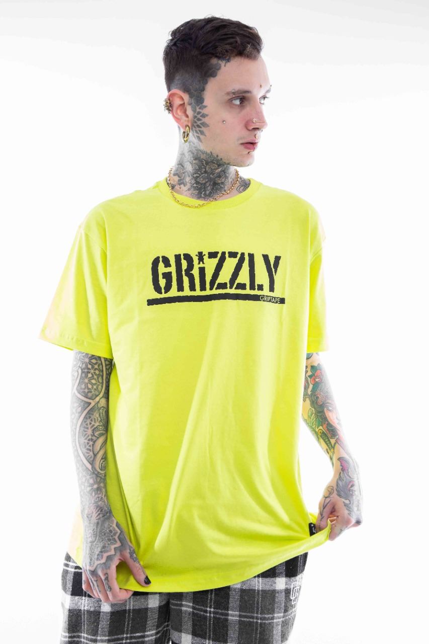 Camiseta Grizzly Stamped Verde Neon