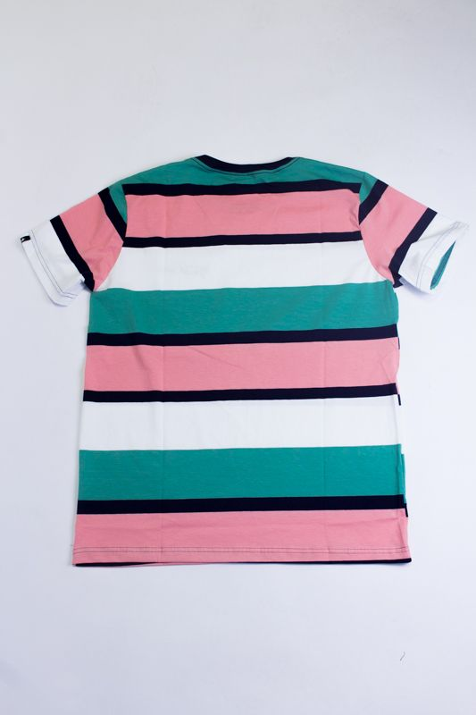 "CAMISETA THE ROCKS ""ROSA/VERDE/PRETO"" LISTRADA"