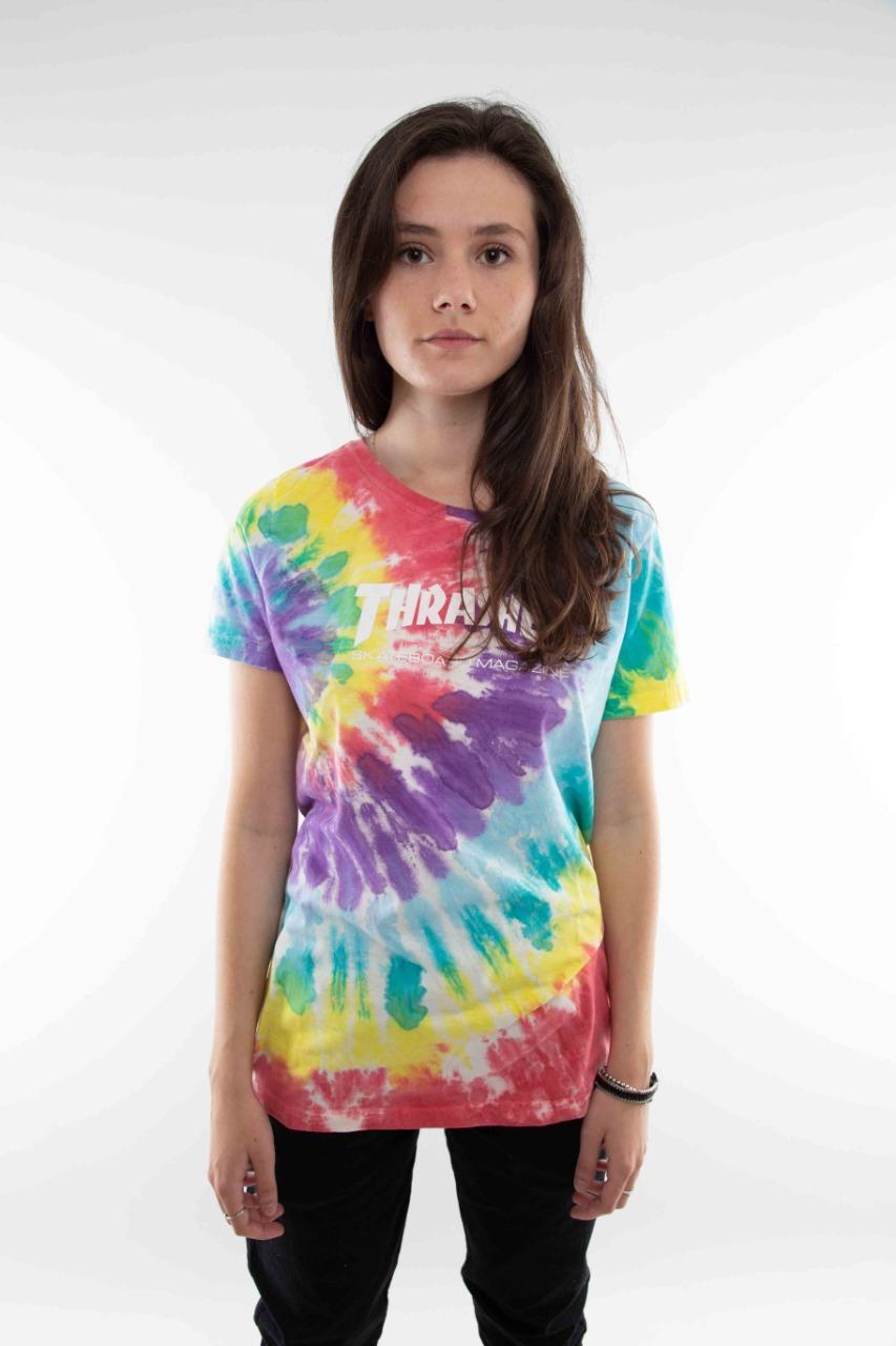 Camiseta Thrasher Feminina Logo Tie Dye