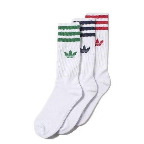 Meia Adidas Solid Crew - 3 Pares Azul/Verde/Vermelha