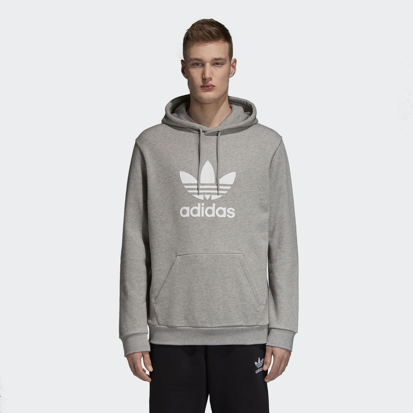 b8e009aaaaf Moletom Adidas Capuz Trefoil Cinza - Overcome Clothing