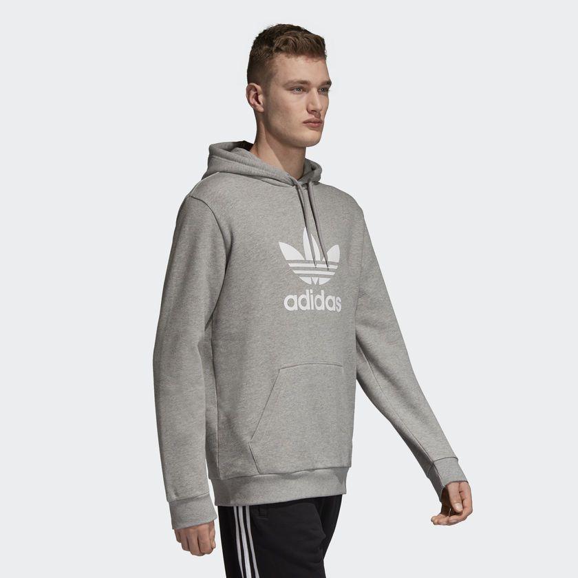 c8538c16a1c Moletom Adidas Capuz Trefoil Cinza - Overcome Clothing