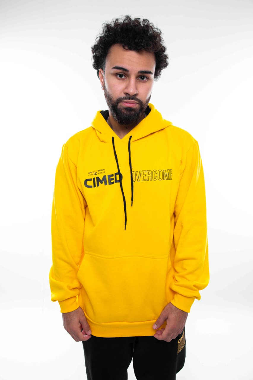 Moletom Overcome x Cimed Canguru Antidote Amarelo
