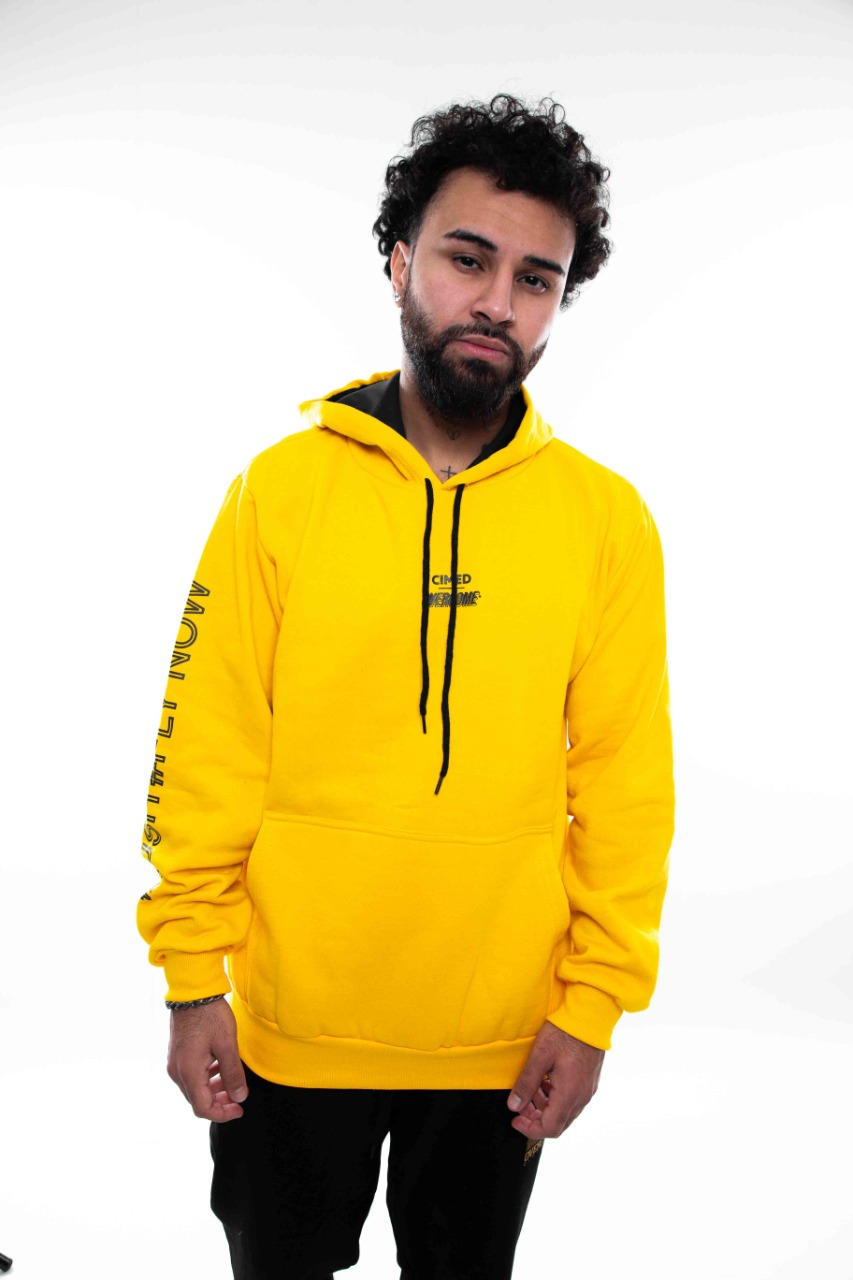 Moletom Overcome x Cimed Canguru Cure Amarelo