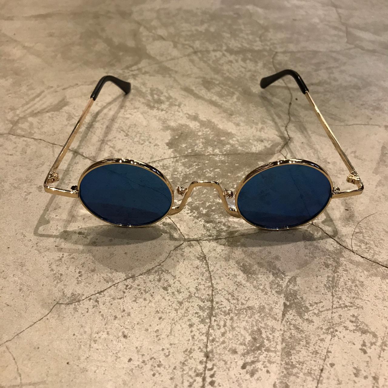 """Óculos Vintage """"JLennon 2.0"""" Dourado/Azul Espelhado"""