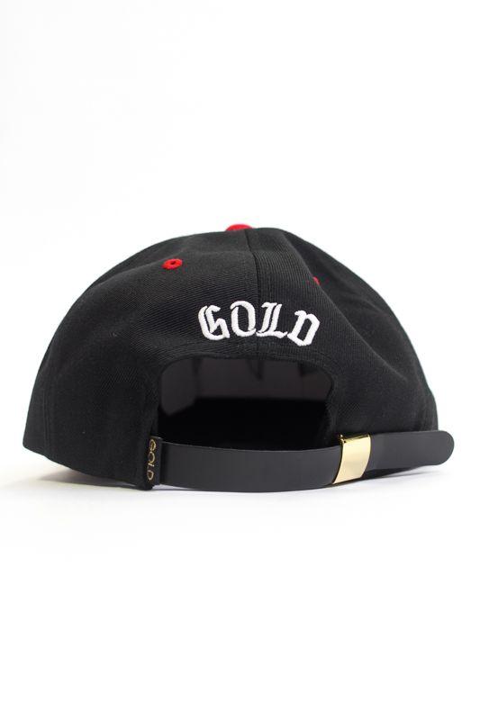 """STRAPBACK GOLD """"OUTFIELD"""" PRETO/VERMELHO"""