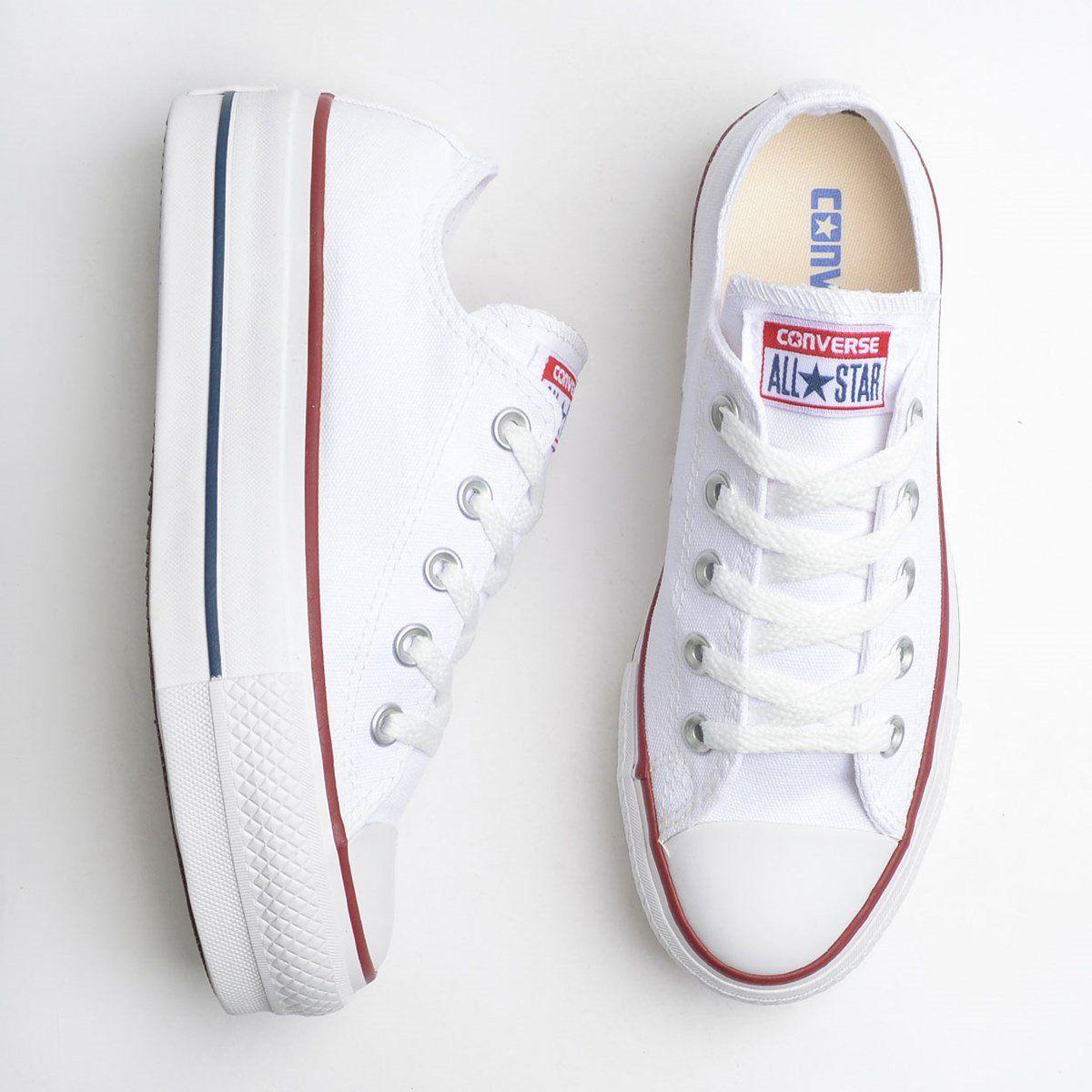 ea2c4aec Tênis Converse Chuck Taylor All Star Plataforma Branco/Branco/Marinho -  Overcome Clothing