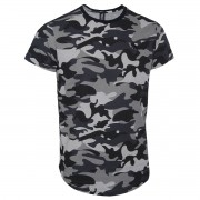 Camiseta Masculina Camuflada Plus Size Logo em Tape
