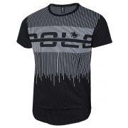 Camiseta Polo Rg518 em Malha Pontos com Estampa Listrada