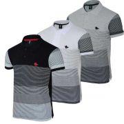 Kit Camisa  com Estampa Listrada e Logo em Silk