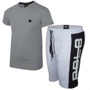 Kit Camiseta Cinza e Bermuda Branca Polo RG518