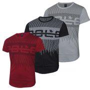 kit camiseta Polo Rg518 em Malha Pontos com Estampa Listrada