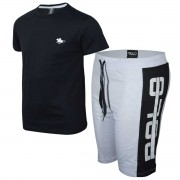 Kit Camiseta Preta e Bermuda Branca Polo RG518