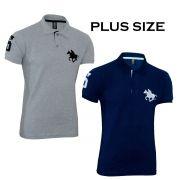 Kit com 02 Polos Tradicionais da Marca Cinza e Marinho Plus Size