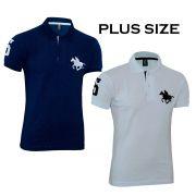 Kit com 02 Polos Tradicionais da Marca Marinho e Branco Plus Size