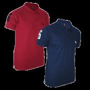 Kit com 02 Polos Tradicionais da Marca Vermelho e Azul Marinho