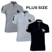Kit Polos Masculinas Plus Size RG518 Preto-Branco-Cinza