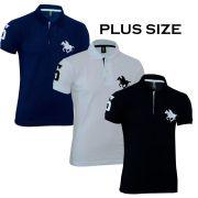 Kit Polos Masculinas Plus Size RG518 Preto-Branco-Marinho