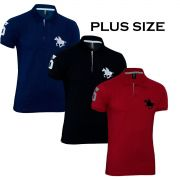 Kit Polos Masculinas Plus Size RG518 Preto-Marinho-Vermelho