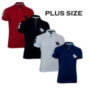 Kit Polos Masculinas Plus Size RG518 Vermelho-Branco-Preto-Marinho