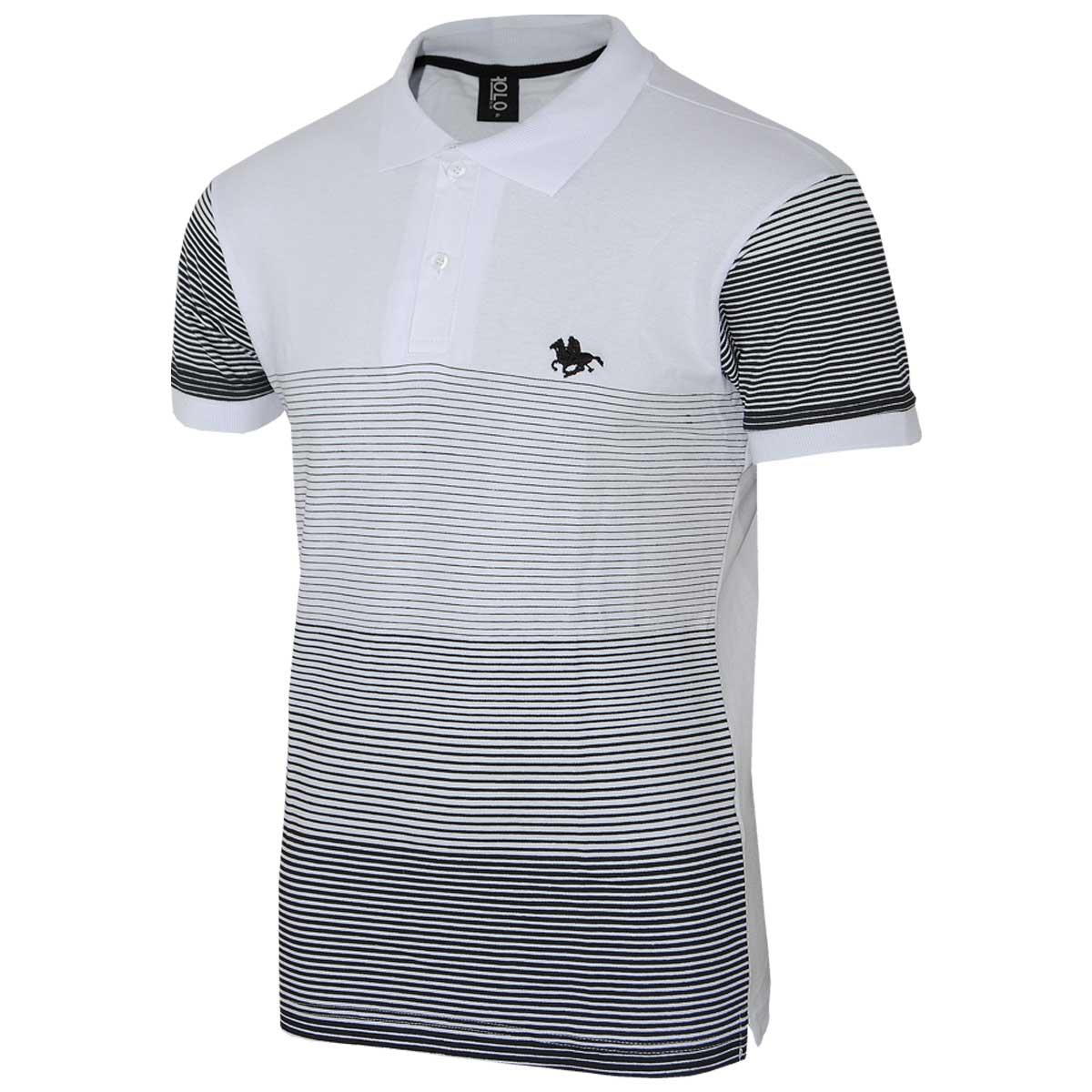 Camisa  com estampa listrada e logo em Silk
