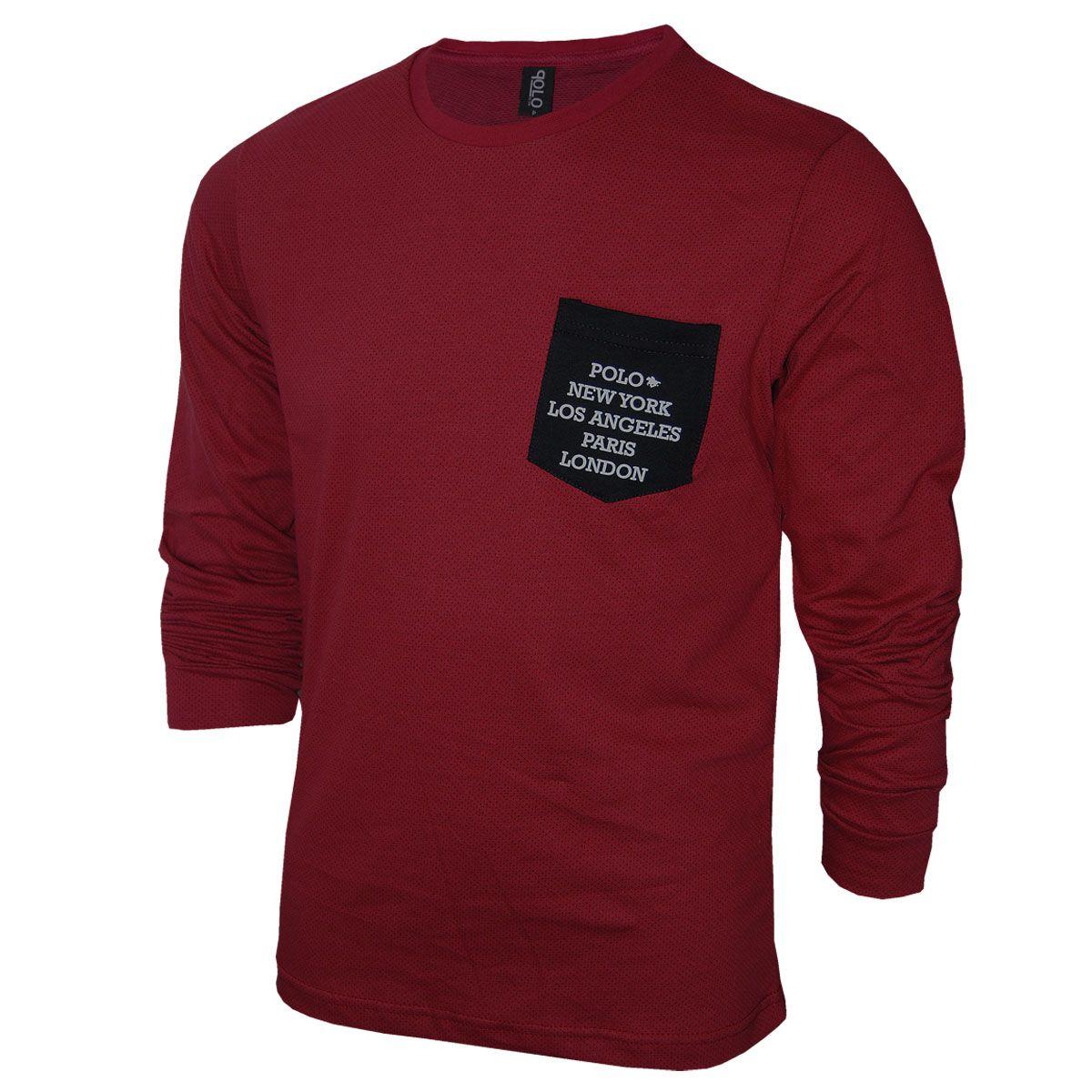 Camiseta Manga Longa com Bolso Personalizado