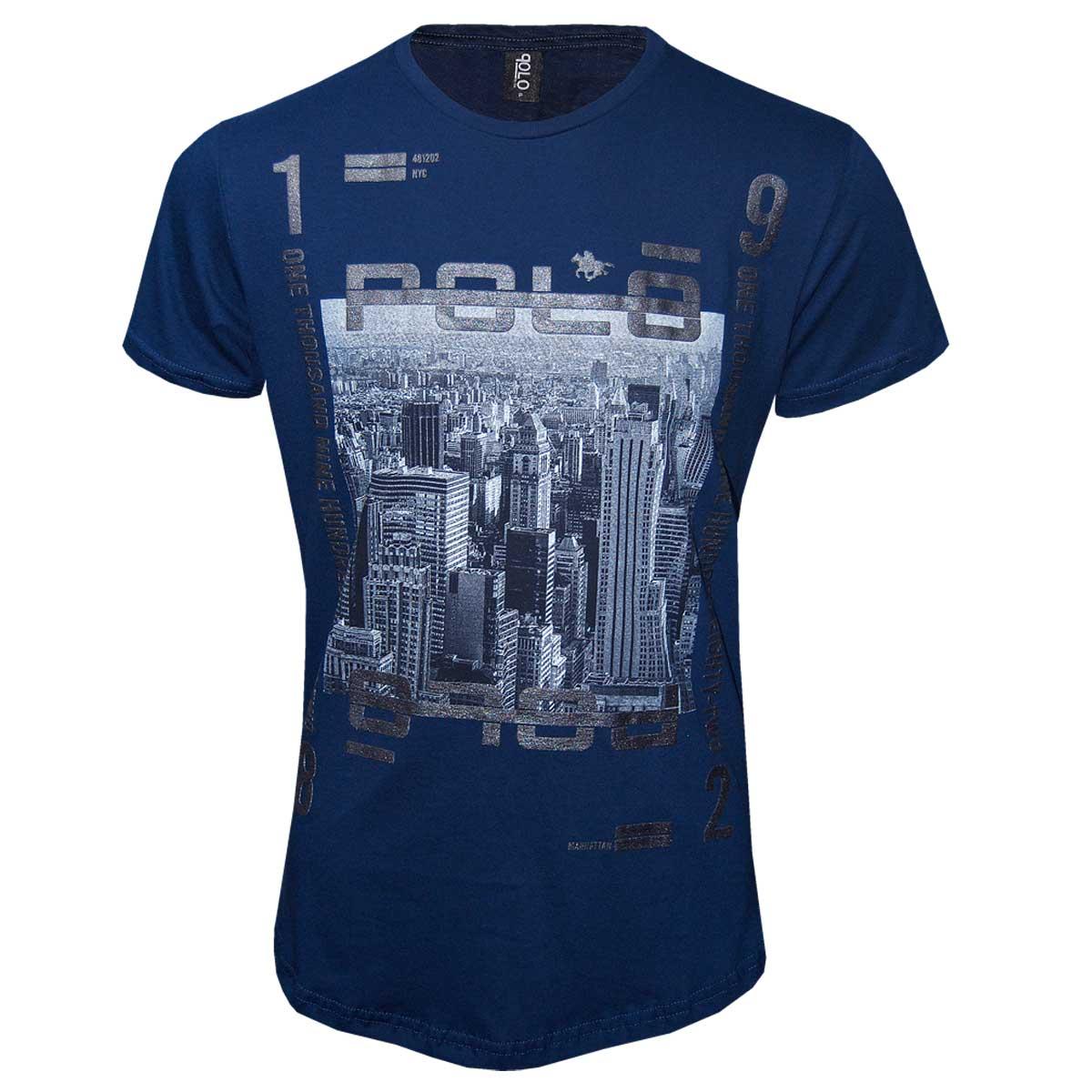 Camiseta Masculina com Estampa em Foil NYC Polo Rg518