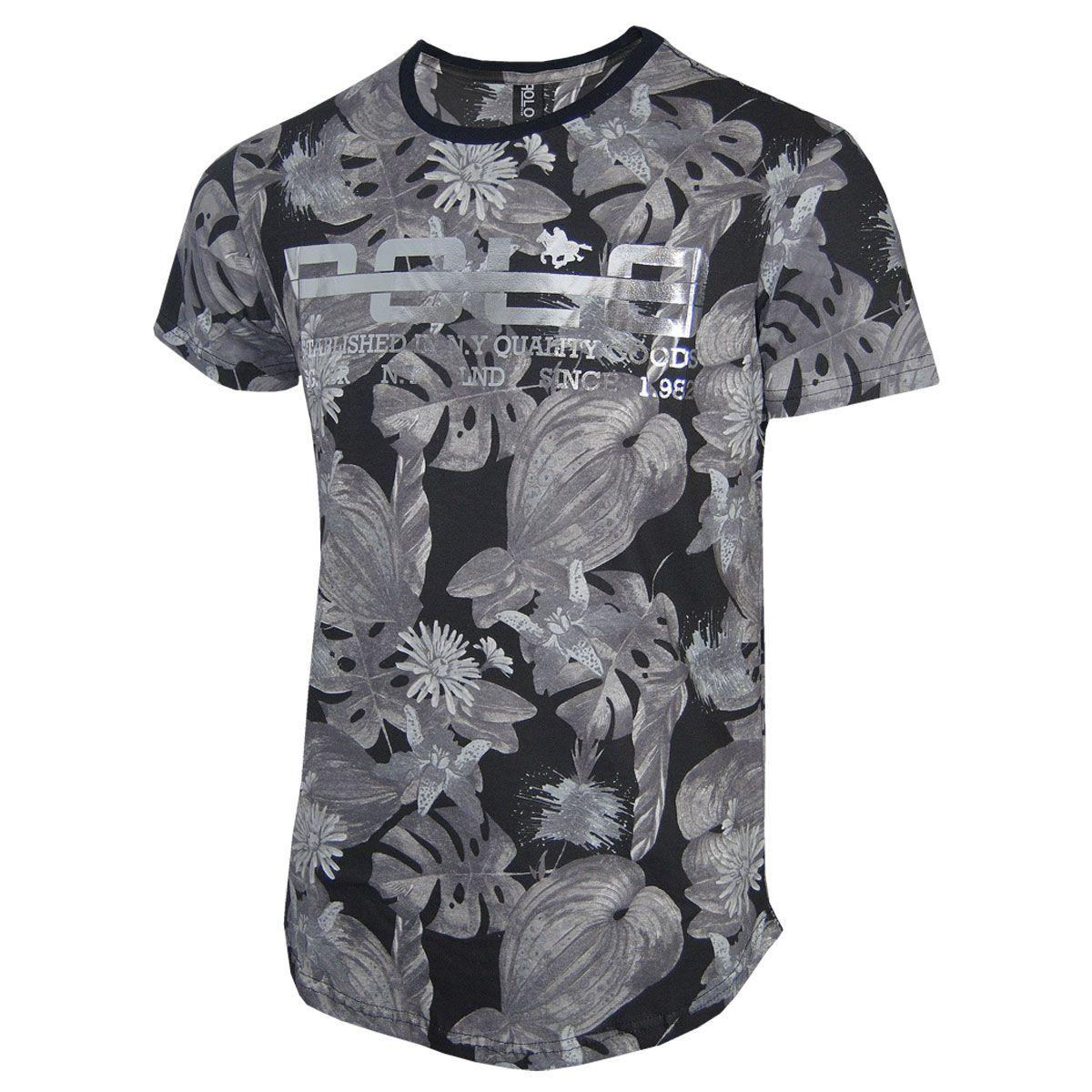 Camiseta Masculina Floral com Logo em Foil