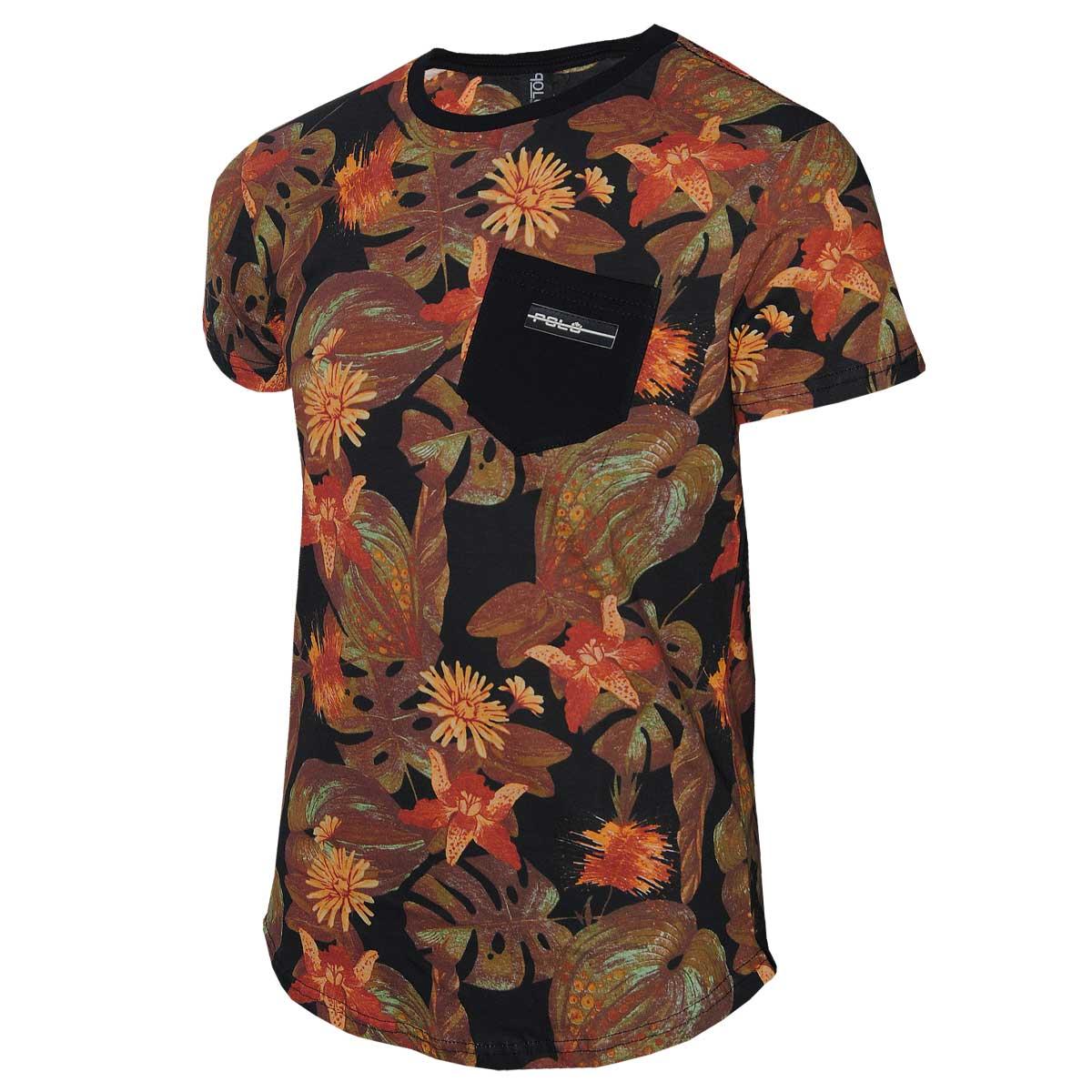 Camiseta Masculina Floral Polo RG518